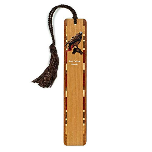Mitercraft Red Tailed Hawk - Bird of Prey - Bird Wooden Bookmark on Cherry with Tassel - Search B07QY547TF to See Personalized Version