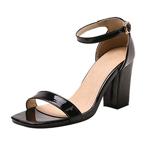 2019 Summer Women's Elegant Soft Party Shoes,Outdoor Casual Strappy Ankle Strap Open Toe High Heel Wedding Sandals (Black, US:8.5)