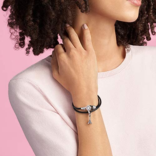 Pandora Jewelry Double Leather Cubic Zirconia Bracelet in Sterling Silver