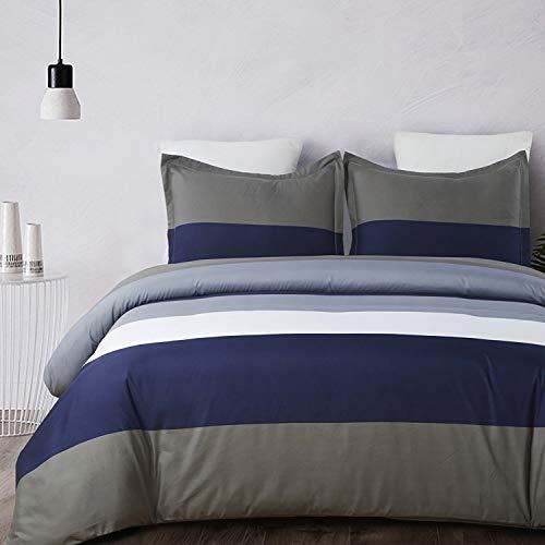 Vaulia Lightweight Microfiber Duvet Cover Set, Stripe Pattern Design, Navy/Brown - Queen Size