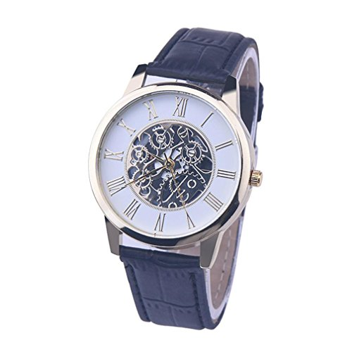 Analog Mechanical Casual Watch - Han Shi Digital Wristwatch, Casual Leather Band Round Analog Dial Quartz Mechanical Clock (Black, L)