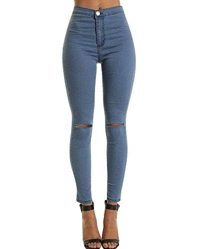 ZhuiKun Femme Taille Haute Denim Pantalons Skinny Jeans Leggings Collant Crayon Dchir Pants Marine