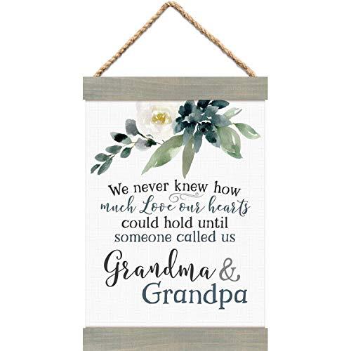 P. Graham Dunn Someone Called Grandma and Grandpa Floral Grey 12 x 8 Canvas Banner Art Sign