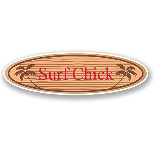 - hiusan 2 x Surf Chick Vinyl Stickers Decals Travel Luggage Tag Lables Car Window Laptop Ipad Envenlop Stickers (10cm W x 3cm H)