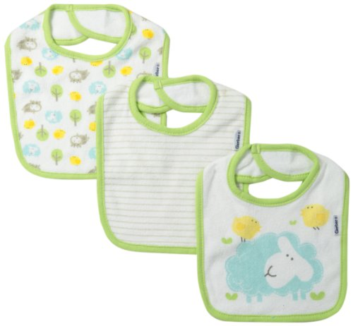 Gerber Unisex-Baby Newborn 3 Pack Terry Hippo Dribbler Bib, Hippo Green, One Size
