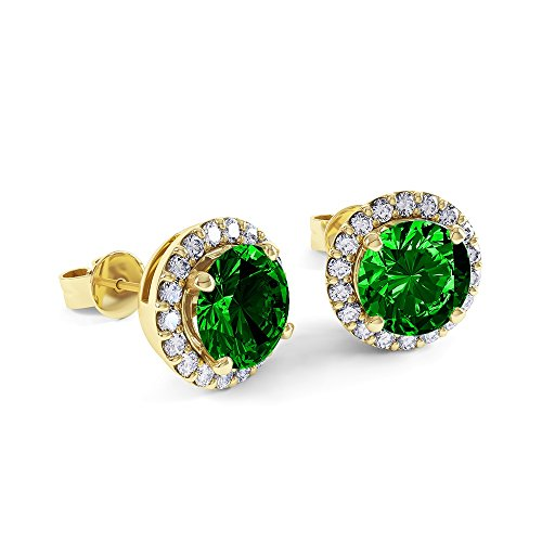 Jian London Boucles d'oreille à tige Émeraude et halo de diamants Stardust Or 2,3ct