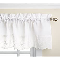 Lorraine Home Fashions Candlewick Tailored Valance, 60 by 12-Inch, White