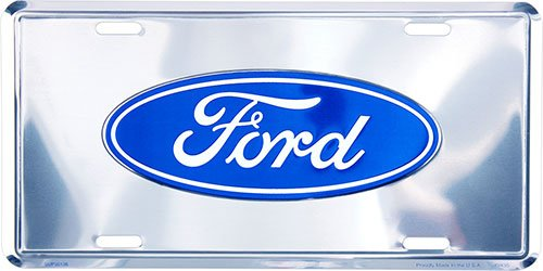 HangTime Ford Logo Deluxe Silver License Plate