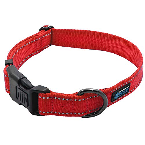 (Max and Neo NEO Nylon Buckle Reflective Dog Collar - We Donate a Collar to a Dog Rescue for Every Collar Sold (Medium, RED))