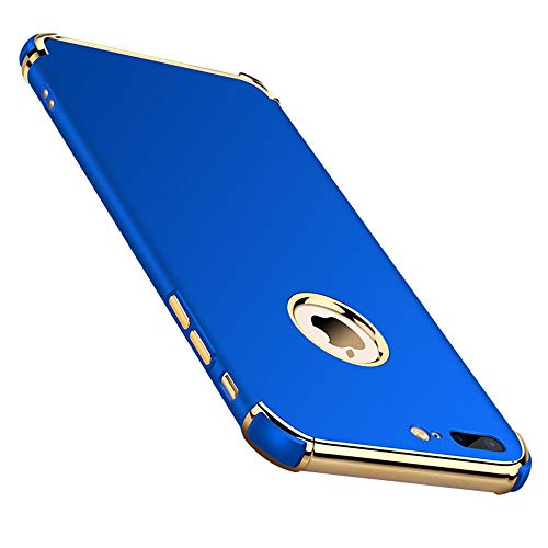 (Chengming Compatible with iPhone Xs Max 3-in-1 Anti-Scratch Anti-Fingerprint Shockproof Electroplate Frame Strong Magnetic Adsorption Non Slip Coated Case (Blue, iPhone Xs Max))