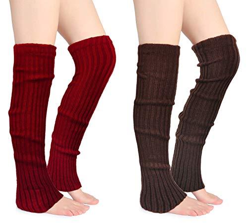 Joyingtwo Crochet Footless Long Socks Ribbed Knee Thigh Highs Leg Warmers for Women Burgundy Coffee 2 Pairs
