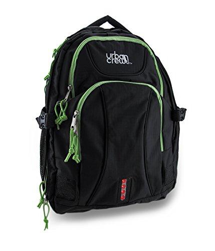 Closeout Laptop Backpacks Black - Zeckos Urban Crew Laptop Backpack Color: Black/Green