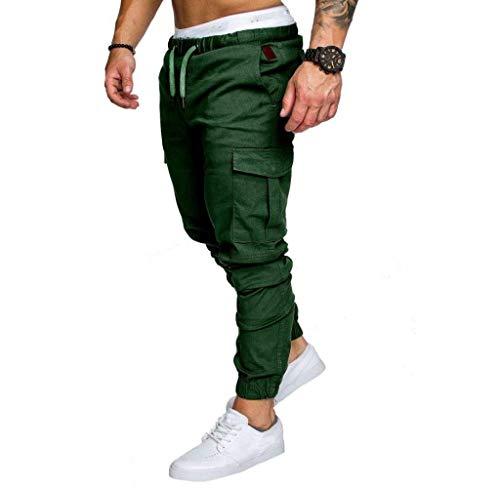 Regular Men Long Tapered Abbigliamento Jogger Cargo Fit Chino Pantaloni Jeans Pants Classics Slim Grün qEvdwXW