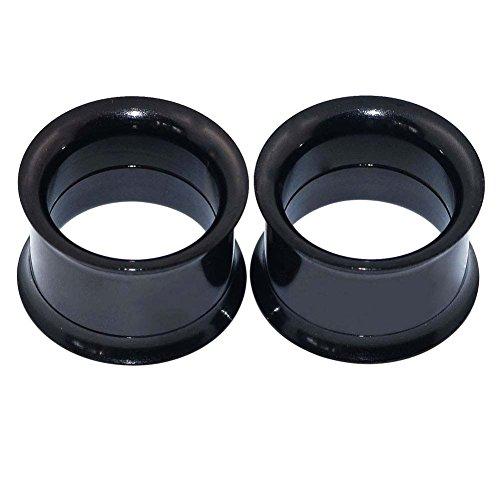 Longbeauty Pair Black Stainless Steel Screw Ear Flesh Tunnels Plugs Stretchers Expander Body Piercing 8MM ()