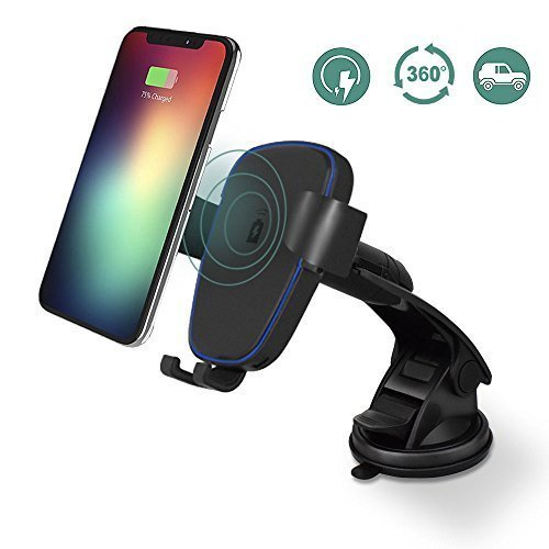 Wireless Car Charger for iPhone X/ 8 / 8 Plus, and Other Qi-Enabled Devices , Car Mount Phone Holder Provides Fast-Charging for Samsung Galaxy Note 8 /S8/ S8+/ S7 / S7 edge / S6 edge+/Note 5-Black (Apple Car Seat Cover)