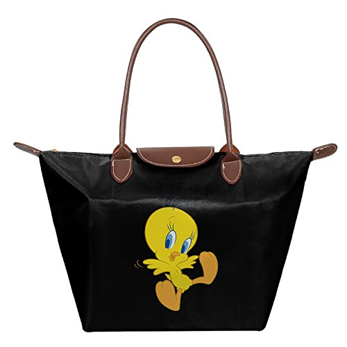 Looney Tunes Tweety Bird Black Waterproof Handbags Shoulder Bags Tote Bags (Tweety Handbag)