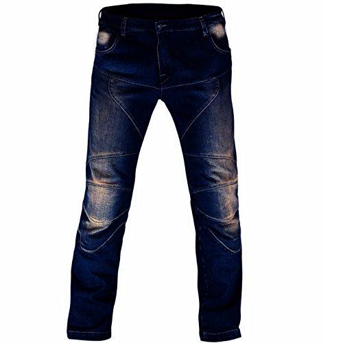 Juicy Trendz Herren Motorradrüstung Biker Motorrad Denim Hose Jeans S017 Blau W36 L34
