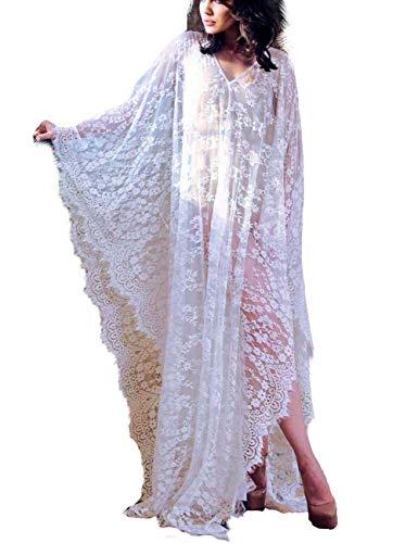 Bikini Cover up Oversized Robe Women Boho Beach Wears for Summer Black Eyelash Lace (one size, 7195-1)