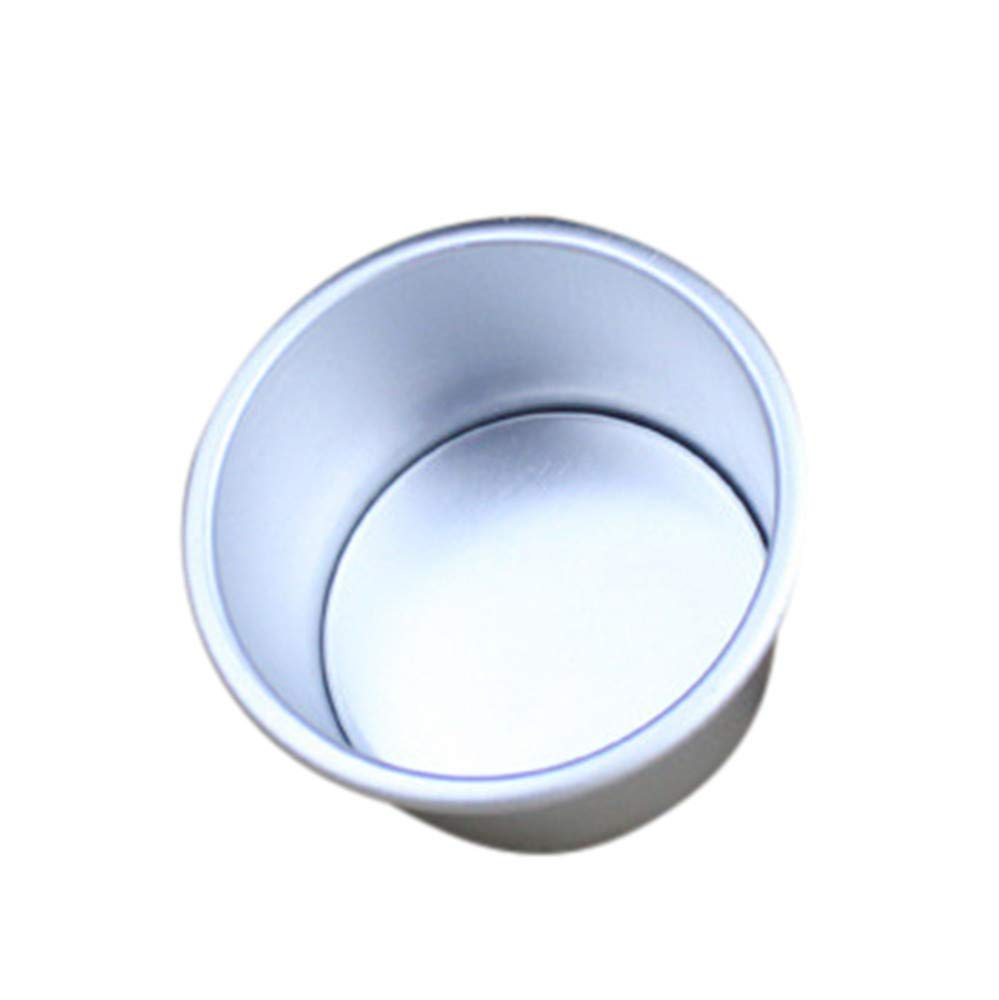 Yu2d  2/4/6/7/8 in Aluminum Alloy Non-Stick Round Cake Baking Mould Pan Bakeware Tool(Silver)