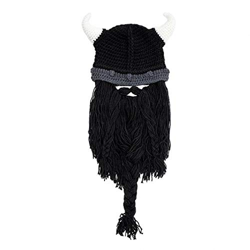 Tebapi Unisex Skullies Beanies Funny Handmade Women Men Wool Mustache Knitted Hats Face Mask Wig Beard Beanies Bonnet Caps Button Connected 003 ()