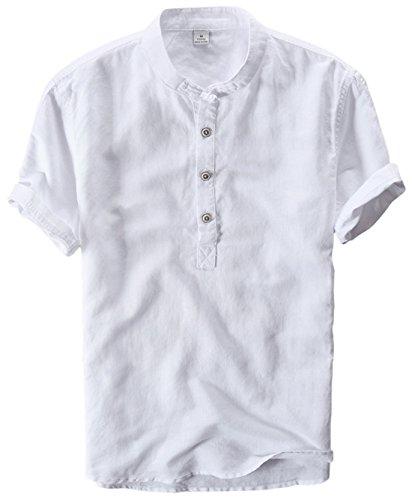 utcoco Men's Retro Chinese Style Short Sleeve Linen Henley Shirts (X-Large, - Wear White Neck