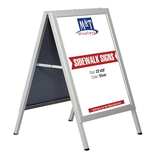 Slide-in A Frame Free Standing Business Sidewalk Display Sign, 22 x 28 Poster Size, Silver by M&T Displays (Image #6)