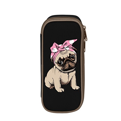 - MOPE Pink Pug Pencil Case Double Zipper Large Storage Space Mulit-Function Stationary Portable Makeup Bag