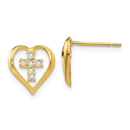 14k Yellow Gold Cubic Zirconia Cz Childrens Heart Cross Religious Post Stud Earrings Love Fine Jewelry Gifts For Women For Her