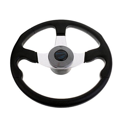 Jili Online Durable Black Aluminum Alloy Marine Boat Yacht Steering Wheel 3 Spoke Spiral Grip 3/4 inch Shaft 13.4 inch - Steering Custom Wheel 3 Spoke