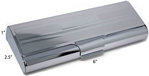 "Metallic Hard Shell Shiny Silver Straight Edge Protective Case for Eyeglasses and Sunglasses with Velvet Liner (6"" X 2.5"" X 1"") by Stephanie Imports"