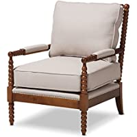 Baxton Studio 424-7333-AMZ Bella Classic Solid Oak Brown Spindle Lounge Chair with Silver Nailheads Trim