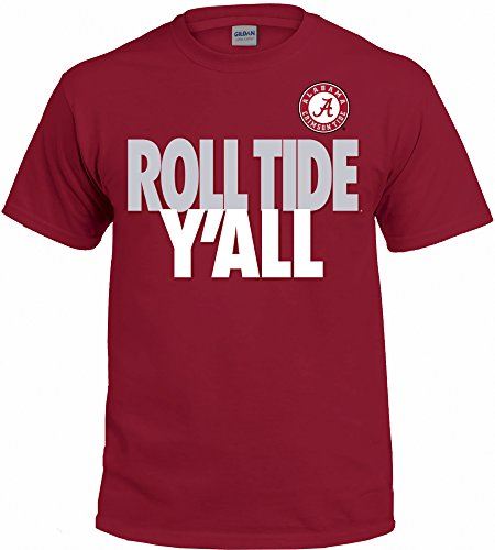 - New World Graphics NCAA Y'all T Shirts - Multiple Universities Available - Up to 2X and 3X (Alabama Crimson Tide, X-Large)