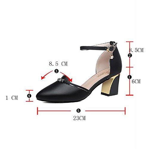 Confort femmes Sandales 6cm Comfort HAIZHEN 36 Marche Heel Pour UK6 pour femmes Boucle chaussures taille plein In CN39 air Chunky Noir Couleur femmes Été pour PU en 2 Abricot EU39 tqxqOERn