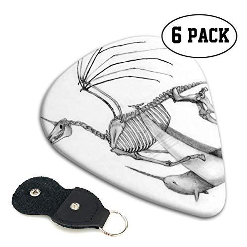 Nice Music Halloween Unicorn Skeleton Bones Sketch Ultra Thin 0.46 Med 0.71 Thick 0.96mm 6 Pieces Each Base Prime Celluloid Ivory Jazz Mandolin Bass Ukelele Plectrum Guitar Pick Pouch Display ()