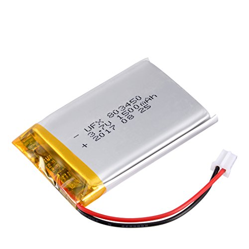 uxcell Power Supply DC 3.7V 1500mAh 803450 Li-ion Rechargeable Lithium Polymer Li-Po Battery