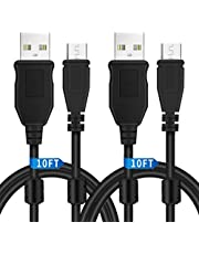 PS4 Controller Charger Charging Cable 10ft 2 Pack, Charge and Play, Extra Long Micro USB 2.0 High Speed Sync Cord for Playstation 4/ DualShock 4/ PS4 Slim/ PS4 Pro/Xbox One/Xbox One S/Xb