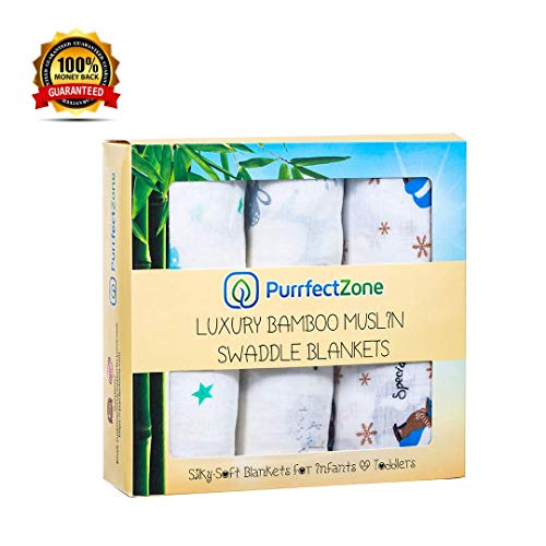 PurrfectZone Silky Soft Bamboo Muslin Swaddle Blankets | Large Breathable Receiving Blankets for Newborns | Purrfect Baby Gifts for Newborn Girls and Boys | Registry for Baby Shower (Moon)