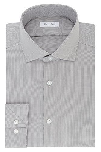 Calvin Klein Men's Non Iron Stretch Slim Fit Unsolid Solid Dress Shirt, Smokey Grey, 16