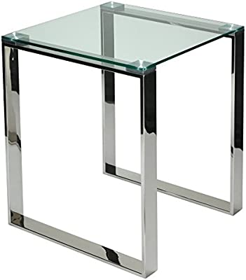 Merveilleux Cortesi Home Remi Contemporary Square Glass End Table With Chrome Finish