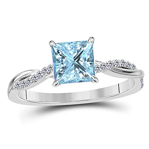 - 1.20 Ct Princess Cut Created Aquamarine 14K White Gold Finish Alloy Swirl Style Engagement Ring Women's Ring Size 7