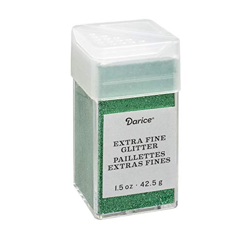 """Darice Emerald Green Extra Fine Glitter 1.5 Ounces Canister w/Pour or Shake Lid, 2.7"""""""