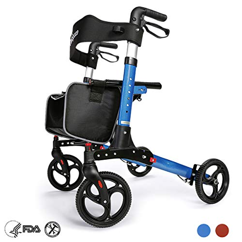 OasisSpace OasisSpace Aluminum Rollator Walker, with 10'' Wheels and Seat Compact Folding Design Lightweight Baking Complimentary Carry Bag (Royal Blue) price tips cheap