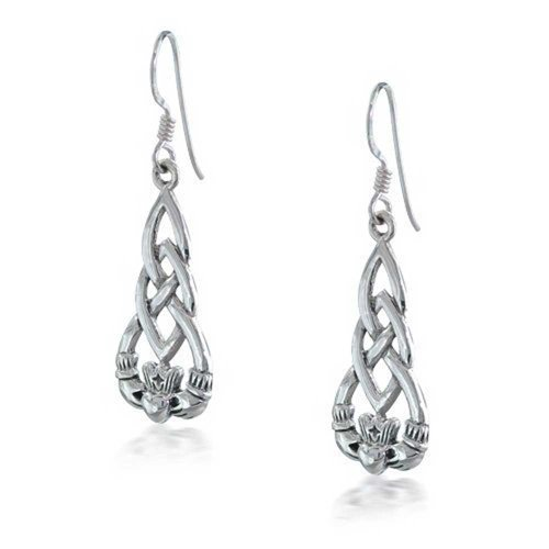Bling Jewelry Sterling Silver Celtic Knot Claddagh Dangle - Claddagh Earrings Sterling Silver