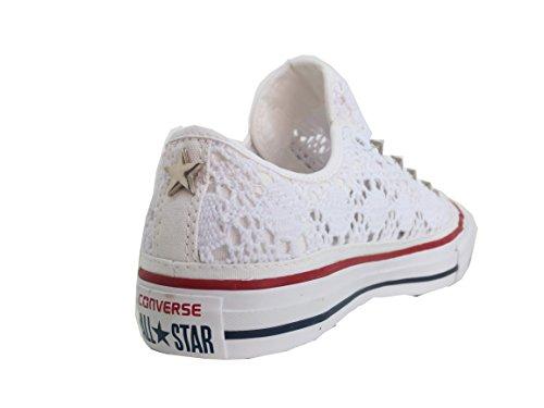 Converse all star Borchie borchiate pizzo basse bianco optical white ( prodotto  artigianale )