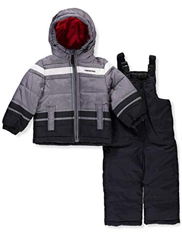 London Fog Baby Boys 2-Piece Snow Pant & Jacket Snowsuit, Black Print/red pop, 12M