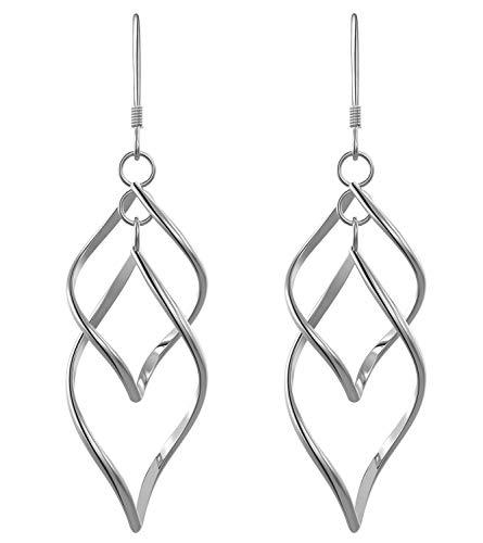 Sterling Silver Dangle Earrings for Women Girls Classic Double Linear Earrings ()