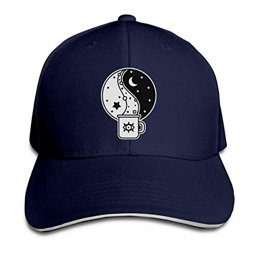 Adult Moon and Mugs Cotton Lightweight Adjustable Peaked Baseball Cap Sandwich Hat Men Women