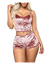 One Persent Women's Velvet Two Piece Set Sleeveless Crop Top+High Waist Short Pants