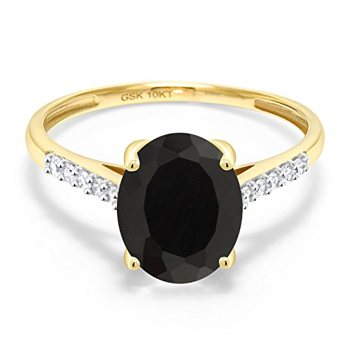 Gem Stone King 10K Yellow Gold Black Onyx and White Diamond Women's Engagement Ring (2.62 Cttw) (Size 8)