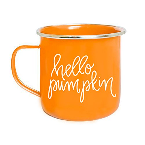 (Hello Pumpkin Campfire Mug | Large Orange PSL Tea-Cup Coffee Lover Gift for Her Fall Decorations Orange Spice Halloween Camping Outdoor Accessories PSL)